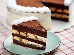 An Old Fashion Icebox Banana Cake With Chocolate Cream Icing Recipe